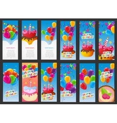 Happy birthday card template with balloons cake vector