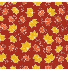 Maple leaf pattern line art background with maple vector