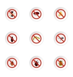 Signs of insects icons set flat style vector