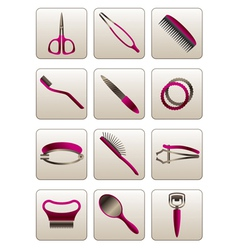 Hair and skin beauty care cosmetic accessories vector image