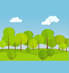 Forest woods cardboard paper landscape park green vector