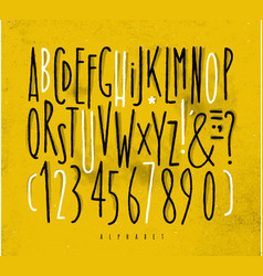 Alphabet straight lines font yellow vector