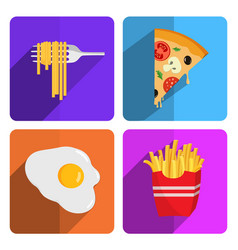 colorful fast food icon set on bright background vector image