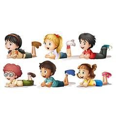 Six kids vector image
