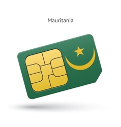 Mauritania mobile phone sim card with flag vector