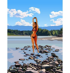 Slim girl in a bathing suit standing vector