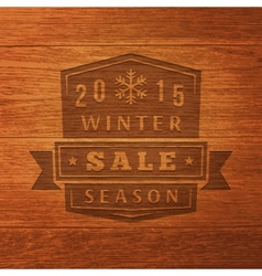 2015 Winter Sale Label On Wood Texture Background vector image