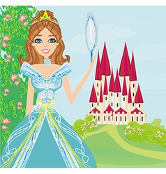 beautiful princess with mirror in her hands vector image