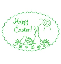 Happy Easter contour vector image