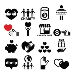 Charity helping other people icons vector image