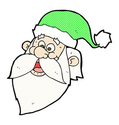 Comic cartoon jolly santa claus face vector