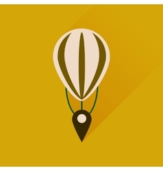 Flat icon with long shadow air balloon point vector image