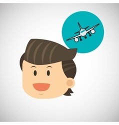 Airplane design flat vector