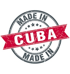 Made in cuba red round vintage stamp vector