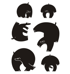 Bear silhouettes vector