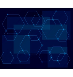 Dark blue background with geometric shapes vector