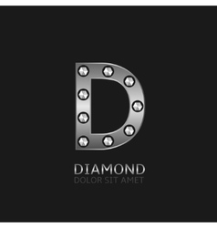 Silver d letter vector