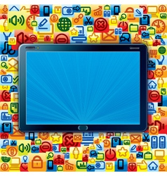 Tablet pc with apps background vector