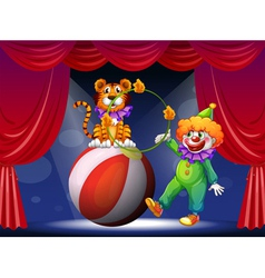 A tiger and a clown performing at the stage vector image vector image