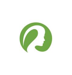 Beauty women face silhouette character logo templa vector