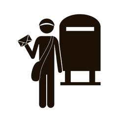 Black silhouette postman with mailbox vector