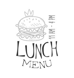 Cafe lunch menu promo sign in sketch style with vector