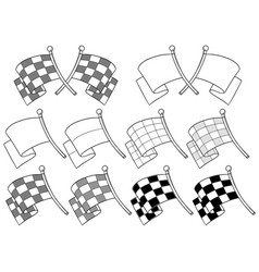 cartoon graphic crossed racing flag set vector image