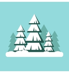 Christmas tree with snow snowy forest landscape - vector