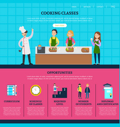 colorful cooking classes web page template vector image