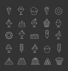 desserts thin line icons vector image vector image