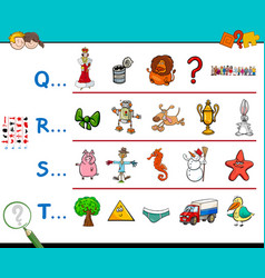 First letter of a word educational worksheet vector