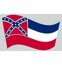 Flag of mississippi waving on gray background vector
