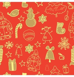 Funny winter christmas seamless pattern vector image