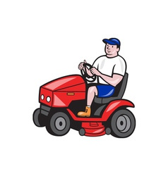 Gardener mowing rideon lawn mower cartoon vector