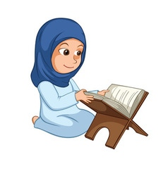 Girl Reading Quran The Holy Book of Islam vector image