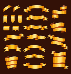golden ribbon tape banner flag bow vector image