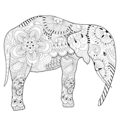 Hand drawn zentangle Elephant with mandala for vector image vector image