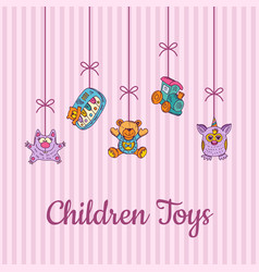 kid toys sketched and colored hanging vector image vector image
