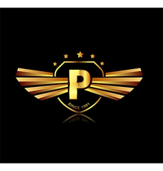 Letter P winged crests logo Alphabet logotype vector image