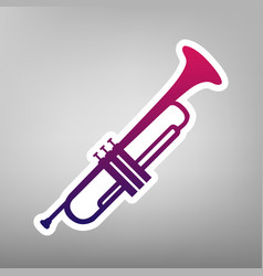 musical instrument trumpet sign purple vector image vector image