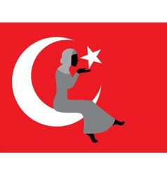 Muslim woman with a turkish flag vector