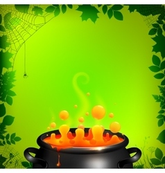Orange potion in black cauldron on green vector