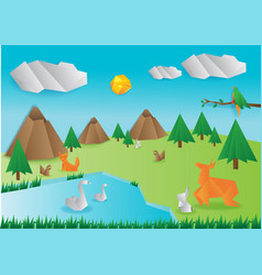 Origami wild paper animals vector
