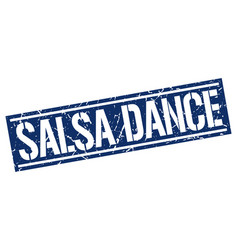 Salsa dance square grunge stamp vector