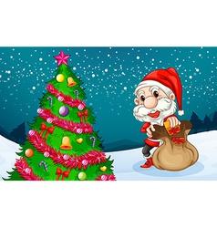 Santa near the big christmas tree vector