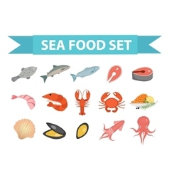 Seafood icons set flat style sea food vector