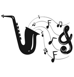 Silhouette design for saxophone and notes vector