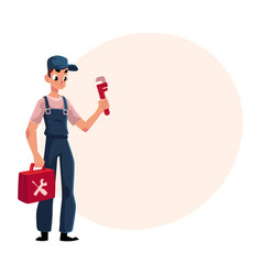 smiling plumbing specialist plumber standing with vector image