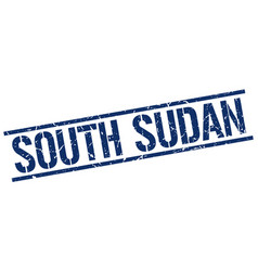 South sudan blue square stamp vector