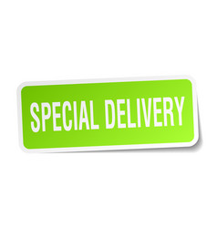 Special delivery square sticker on white vector